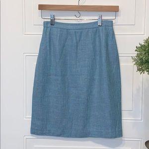 Burberry vintage skirt tweed silk linen pencil 6p